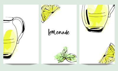 Hand drawn vector cooking cards set template with lemonade glass jar in yellow colors isolated on watercolor background.