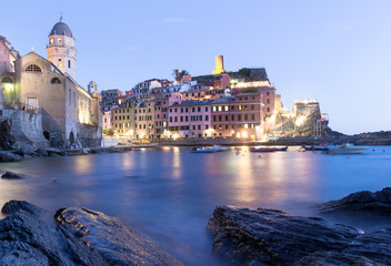 Vernazza rocky shore one of five villages in Cinque Terre National Park on Italian Riviera, Liguria, Italy