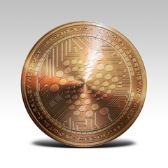 copper iota coin isolated on white background 3d rendering