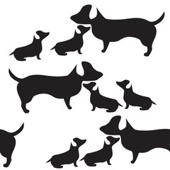 Dog and puppies tile. Black and white seamless pattern vector.