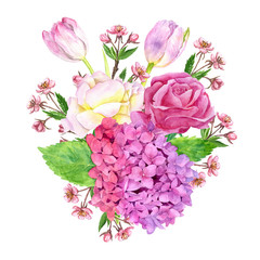watercolor flowers coposition