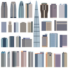 Fototapete - collection of isolated vector buildings