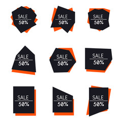 Labels sale set in modern style. Geometric design bubbles collection.