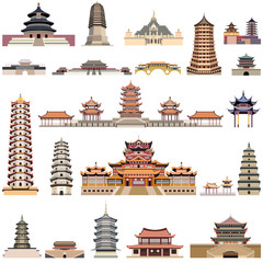 vector collection of chinese pagodas and ancient temples and towers
