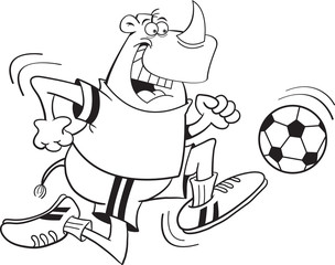 Black and white illustration of a rhino playing soccer.