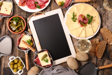 raclette cheese with charcuterie