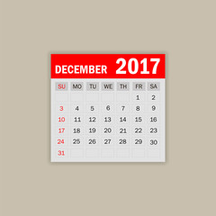 December 2017. Calendar vector illustration