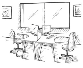 Open Space office. Workplaces outdoors. Tables, chairs. Vector illustration in a sketch style.