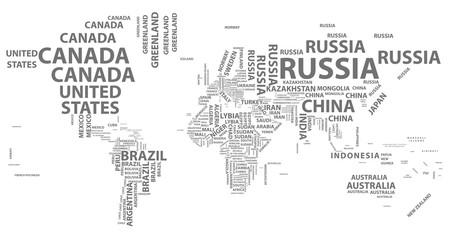 Fotorolgordijn Wereldkaart vector world map with country names in typography