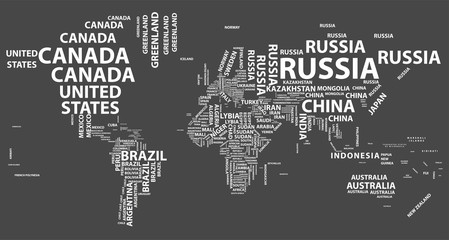 Search photos world map typo vector world map with country names in typography gumiabroncs Images