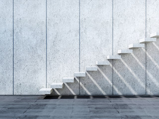 3d concrete stairs installation on stone wall