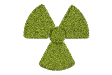 radiation symbol from grass, 3D rendering