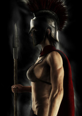 Portrait silhouette of a Greek Spartan female warrior on a black background. 3d rendering.