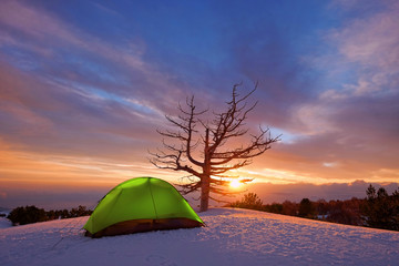Sunrise On Tent In Winter Etna Park, Sicily