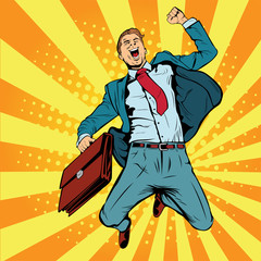 Business man the winner pop art retro vector illustration. Successful businessman jumping for joy. Joyful man with briefcase of money and documents.