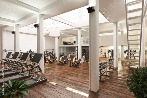 Interior of an upscale cross fit and workout gym   3d rendering