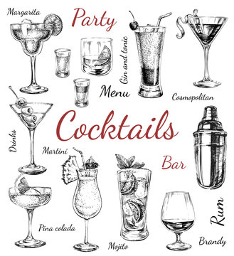 Set sketch cocktails and alcohol drinks hand drawn illustration
