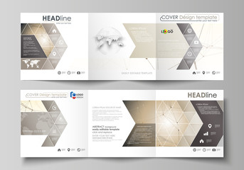Golden dots and lines, cybernetic digital style. Lines plexus. Business templates for tri fold square design brochures. Leaflet cover, easy editable vector layout. Technology, science, medical concept