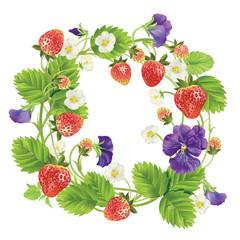 Vector strawberry round frame.