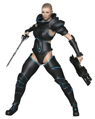 Printed roller blinds Military Future Warrior Priestess - science fiction illustration