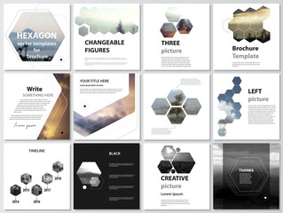 Abstract polygonal modern style with hexagons. The minimalistic vector illustration of the editable layout of square format covers design templates for brochure, flyer, magazine.