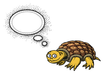 Cartoon image of turtle. An artistic freehand picture.