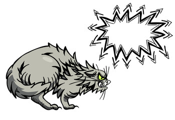 Cartoon image of angry cat. An artistic freehand picture.