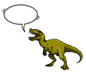 Cartoon image of dinosaur. An artistic freehand picture.