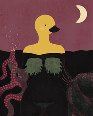 A duck woman in water adapting to environment