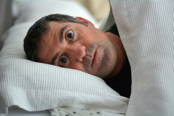 Sleeplessness man suffers from Insomnia