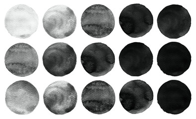 Set of black and gray watercolor circles isolated on white.