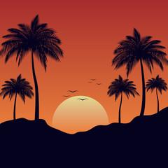 Sunset of summer landscape background