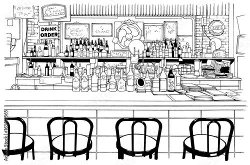 漫画風ペン画イラスト 店舗fotoliacom の ストック写真とロイヤリティ