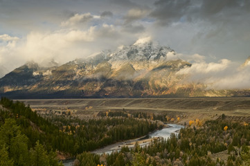 Sunrise at Sanke River overlook, Snake River, Grand Teton, Wyoming