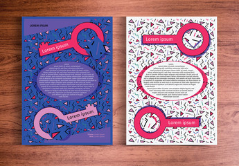 Pink and Purple Retro Confetti Flyer Layout