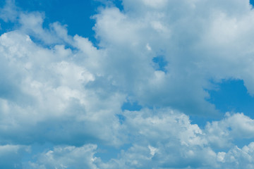 Blue sky with clouds fresh nature background