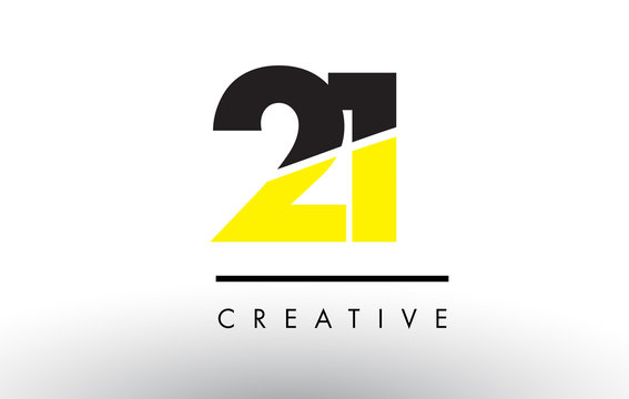 21 Black and Yellow Number Logo Design.