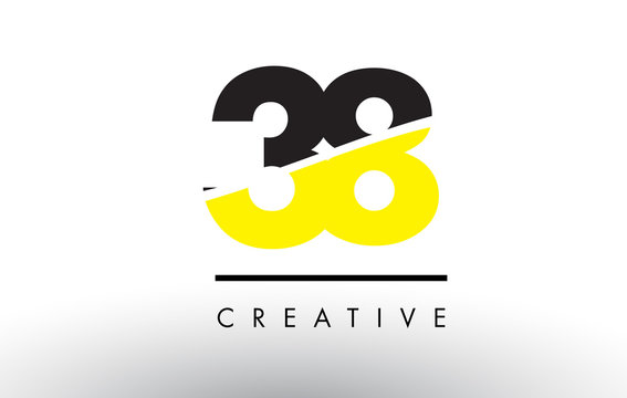 38 Black and Yellow Number Logo Design.