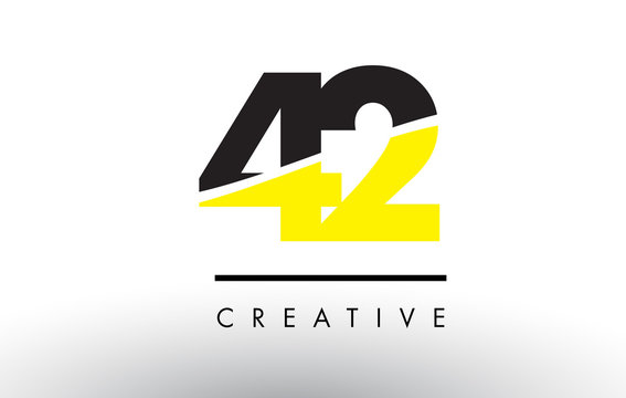 42 Black and Yellow Number Logo Design.