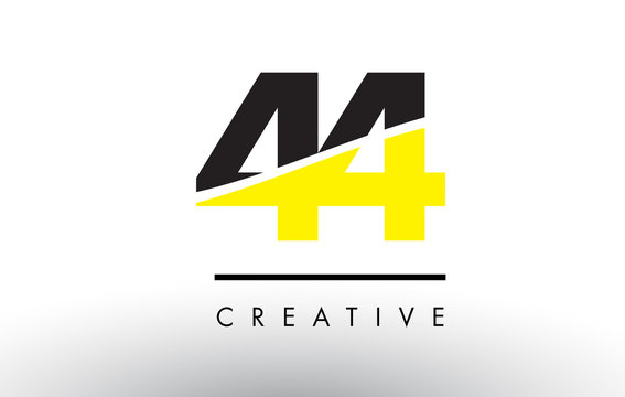 44 Black and Yellow Number Logo Design.