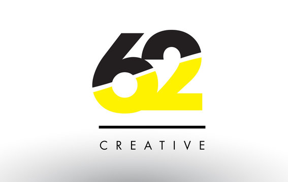 62 Black and Yellow Number Logo Design.