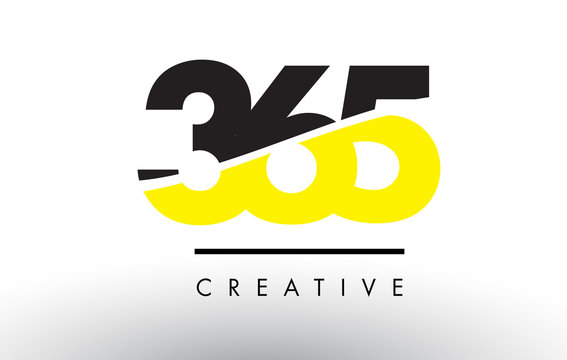 365 Black and Yellow Number Logo Design.