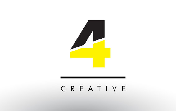 4 Black and Yellow Number Logo Design.