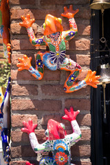 Traditional mexican handicraft frogs