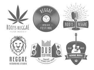 Reggae logos. Vector badges for reggae festival, radio station or rastafarian bar. Vintage music labels with marijuana leaf, vinyl disc, microphone, guitar, lion and speakers.