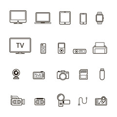 Set of multimedia device icon black and line style isolated on white background. Vector Illustration