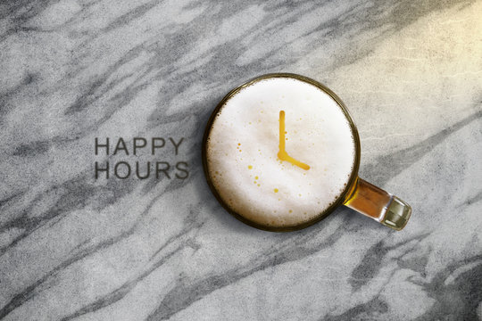 Glass of Beer with Clock symbol on marble table, Top view, Happy hour promotional concept