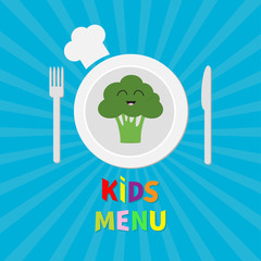 Kids Menu card. Fork, plate, knife and chefs hat icon. Broccoli vegetable face. Cute cartoon smiling character. Healthy food. Flat design style. Blue starburst sunburst background.