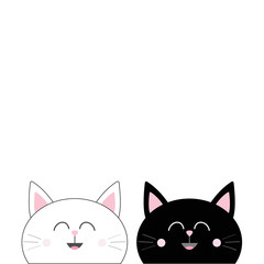 Black White Cat head couple family icon. Cute funny cartoon smiling character. Happy Valentines day Greeting card template. Kitty Whisker Baby pet collection background. Isolated. Flat design.