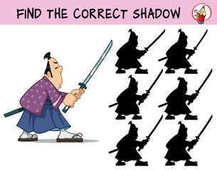 A samurai with a sword. Find the correct shadow. Educational game for children. Cartoon vector illustration